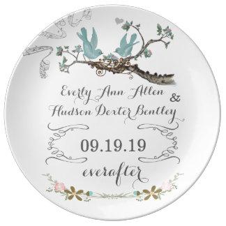 磁器の結婚式の日付記念日愛鳥のプレート 磁器プレート