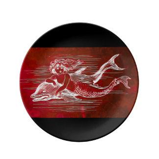 磁器皿の人魚及びイルカ 磁器プレート