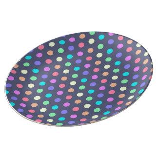 磁器皿の水玉模様 磁器プレート