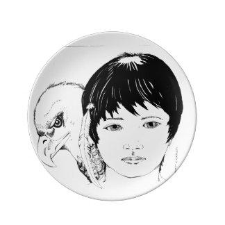 磁器皿: ワシを持つ男の子のペンとインク 磁器プレート
