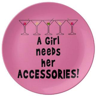 磁器皿-女の子は彼女の付属品を必要とします 磁器プレート