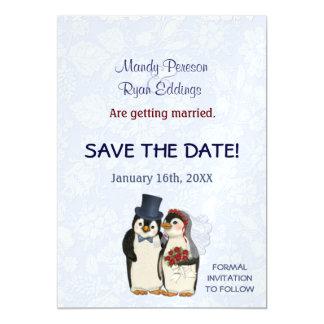 磁気保存を結婚するペンギンの冬日付 マグネットカード