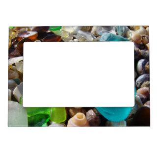磁気写真フレームのギフトは瑪瑙の海ガラスを浜に引き上げます マグネットフレーム