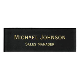 磁気名前入りな専門の模造のな金ゴールドの黒 名札