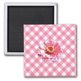 磁石-正方形-格子のピンクの《植物》百日草 マグネット