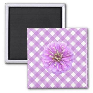 磁石-正方形-格子の薄紫の《植物》百日草 マグネット