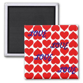 磁石-赤いハート-愛愛愛 マグネット
