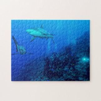 礁の鮫およびダイバーのジグソーパズル ジグソーパズル