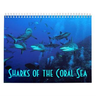 礁の鮫のグレート・バリア・リーフの珊瑚海 カレンダー