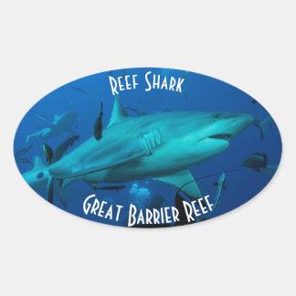 礁の鮫のグレート・バリア・リーフの珊瑚海 楕円形シール