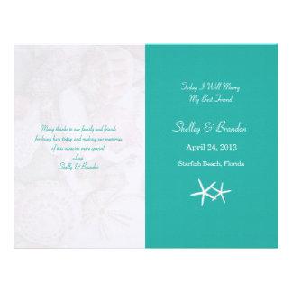 礁湖の青いヒトデの結婚式プログラムカバー レターヘッド