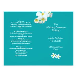 礁湖の青いプルメリアのビーチ結婚式プログラム チラシ