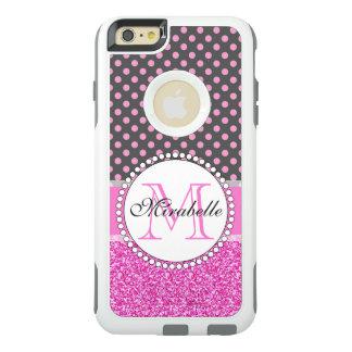示される灰色のピンクのグリッターそしてピンクの水玉模様 オッターボックスiPhone 6/6S PLUSケース