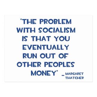 社会主義のマーガレット・サッチャーの引用文の問題 ポストカード