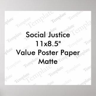 """社会正義11x8.5の""""価値ポスター紙のマット ポスター"""