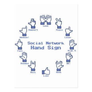 社会的なネットワーク手の印 ポストカード