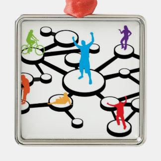 社会的な媒体の接続図 メタルオーナメント