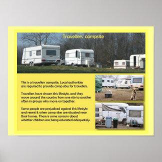 社会科、旅行者のキャンプ場 ポスター