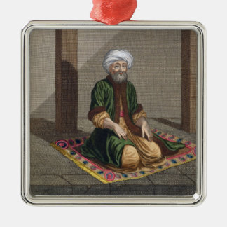 祈っているトルコの人18世紀(版木、銅版、版画) シルバーカラー正方形オーナメント