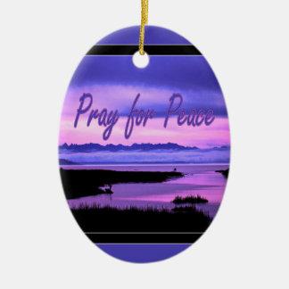 祈って下さいのために平和(ピンクの景色) セラミックオーナメント