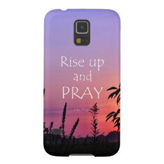 祈りの言葉の聖書の詩の紫色の日の出 GALAXY S5 ケース