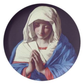 祈りの言葉1640-50年のヴァージン(キャンバスの油) プレート