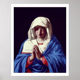 祈りの言葉1640-50年のヴァージン(キャンバスの油) ポスター