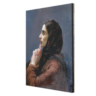 祈りの言葉1879年の若い女性(キャンバスの油) キャンバスプリント