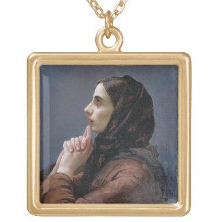 祈りの言葉1879年の若い女性(キャンバスの油) ゴールドプレートネックレス