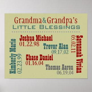 祖母および祖父の孫の名前の誕生日 ポスター