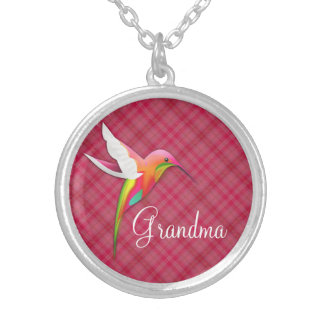 祖母のためのかわいいハチドリのピンクのネックレス シルバープレートネックレス