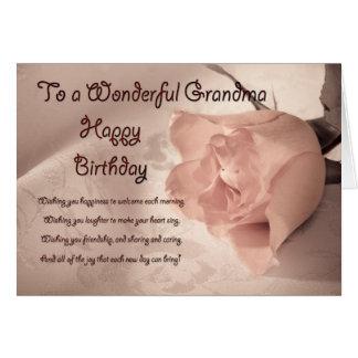 祖母のためのエレガントなばら色のバースデー・カード カード