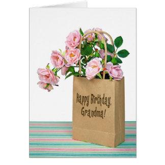 祖母のためのピンクの誕生日のバラ カード