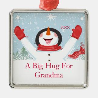 祖母のクリスマスの雪だるまのオーナメントのための抱擁 メタルオーナメント