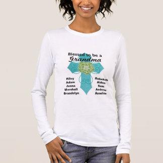 祖母のティール(緑がかった色)の十字のワイシャツがあるために賛美される 長袖Tシャツ