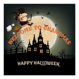 祖母のハロウィンの魔法使いに歓迎して下さい ポスター