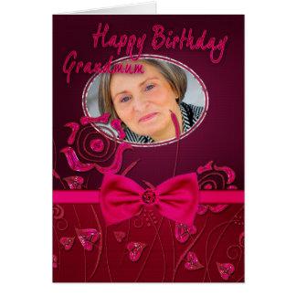 祖母のピンクの花のバースデー・カード カード