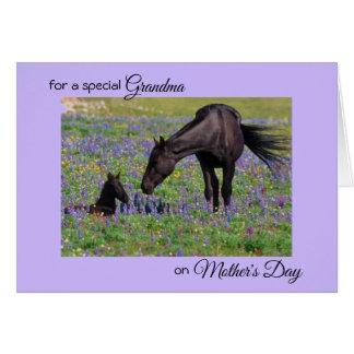 祖母のロバ及び子馬の写真のノートのための母の日 カード