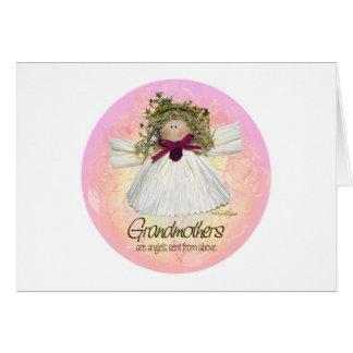 祖母の天使-ピンク カード