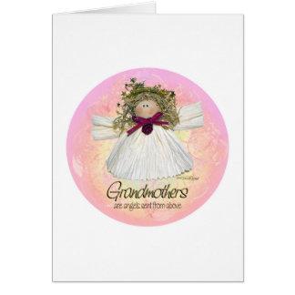 祖母の天使-ピンク グリーティングカード