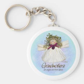 祖母の天使-青 キーホルダー