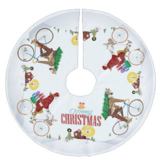 祖母の家のクリスマスツリーのスカートへ自転車に乗ること ブラッシュドポリエステルツリースカート