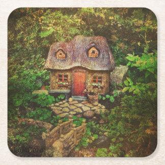 祖母の家、ミニチュア妖精の家、コースター スクエアペーパーコースター