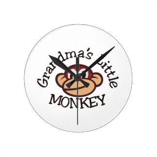 祖母の小さい猿 ラウンド壁時計