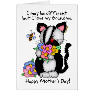 祖母の母の日カード-パンクか石またはEmo猫 カード