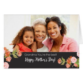 祖母の母の日水色のバラ グリーティングカード