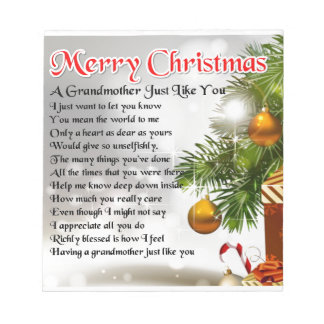 祖母の詩-クリスマスのデザイン ノートパッド