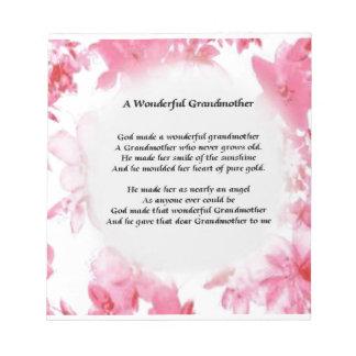 祖母の詩-ピンクの花柄 ノートパッド