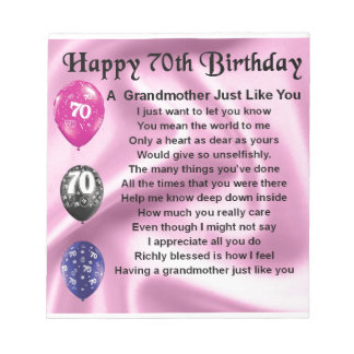 祖母の詩-第70誕生日 ノートパッド