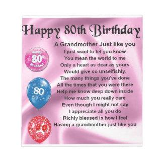 祖母の詩-第80誕生日 ノートパッド
